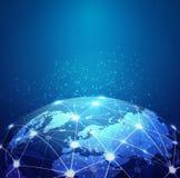 Uma comunicação digital da malha do mundo e rede da tecnologia ilustração stock