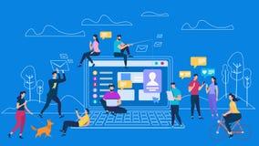 Uma comunicação digital dos dispositivos dos povos networking ilustração stock