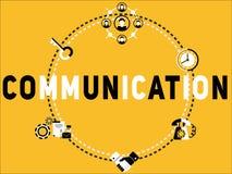 Uma comunicação do conceito da palavra e ilustração criativas dos ícones ilustração stock