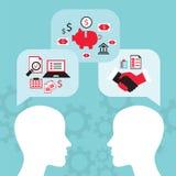 Uma comunicação do homem de negócio, conversação Conceito brilhante das ideias ilustração stock