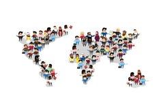 Uma comunicação do International do mapa do mundo da multidão do grupo dos povos ilustração stock