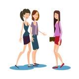Uma comunicação dos amigos de Group Chatting University do estudante das moças ilustração do vetor