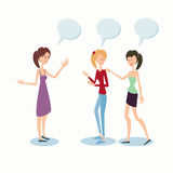 Uma comunicação dos amigos de Group Chatting University do estudante das moças ilustração stock