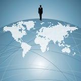 Uma comunicação dos povos do mundo com o homem de negócios Fotografia de Stock Royalty Free