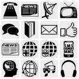 Uma comunicação e ícones sociais dos meios Imagem de Stock