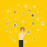 Uma comunicação empresarial Conexão social dos meios e de rede Fotografia de Stock Royalty Free