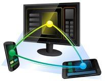 Uma comunicação entre três dispositivos imagens de stock