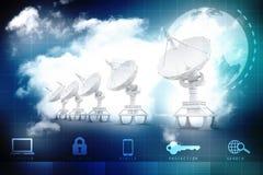 Uma comunicação global com o satélite e o servidor 3d rendem Foto de Stock Royalty Free