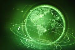 Uma comunicação global da terra do planeta De intercâmbio de dados através do Internet ilustração do vetor