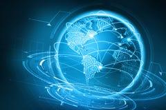 Uma comunicação global da terra do planeta De intercâmbio de dados através do Internet ilustração stock