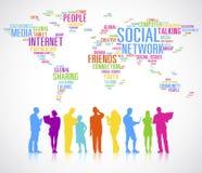 Uma comunicação global das silhuetas coloridas do pessoa diverso ilustração stock