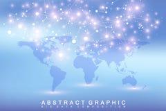 Uma comunicação gráfica geométrica do fundo com o mapa do mundo político Complexo grande dos dados com compostos perspective ilustração stock