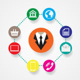 Uma comunicação lisa da ilustração do vetor dos ícones do negócio Fotos de Stock