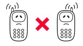 Uma comunicação móvel é proibida Telefones celulares dos desenhos animados 3d com referência a Ilustração Royalty Free