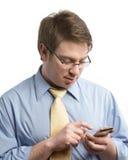 Uma comunicação móvel do homem de negócios Fotografia de Stock