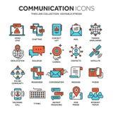 Uma comunicação Media sociais Em linha conversando Telefonema, mensageiro do app Móbil, smartphone computar Email Linha fina Imagens de Stock Royalty Free