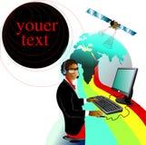 Uma comunicação, menina bonita comunica-se Imagens de Stock