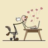 Uma comunicação no Internet. amor e sonho Fotos de Stock