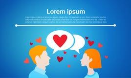 Uma comunicação social da rede da bolha do bate-papo do amor dos pares de Valentine Day Gift Card Holiday Imagem de Stock Royalty Free