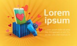 Uma comunicação social da rede do telefone esperto da pilha do amor de Valentine Day Gift Card Holiday ilustração do vetor