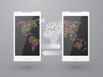 Uma comunicação usando telefones celulares Fotos de Stock