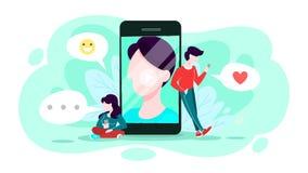 Uma comunica??o em linha atrav?s do grupo do conceito do telefone celular ilustração royalty free