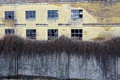 Uma construção abandonada velha com janelas quebradas atrás de uma cerca de plantas cobertos de vegetação Foto de Stock Royalty Free
