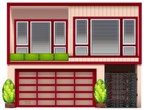 Uma construção com quadros vermelhos Fotos de Stock Royalty Free