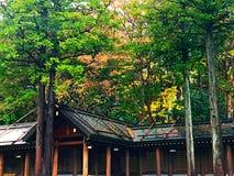 Uma construção na idade da floresta, santuário do santuário do Hokkaido Foto de Stock