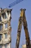 Demolição, guindaste e escavadora Imagens de Stock