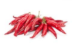 Uma corda com um grupo de pimentas de pimentão vermelho Imagem de Stock