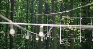 Uma corda do bulbo da lanterna do diodo emissor de luz ilumina-se com fio branco para o pátio da jarda do partido em um fundo do  vídeos de arquivo