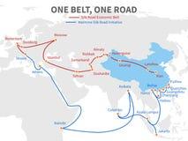 Uma correia - uma Rota da Seda moderna chinesa da estrada Maneira econômica do transporte na ilustração do vetor do mapa do mundo ilustração royalty free