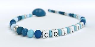 Uma corrente azul da chupeta para meninos com nome Collin Imagens de Stock Royalty Free