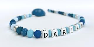 Uma corrente azul da chupeta para meninos com nome Darian Fotografia de Stock
