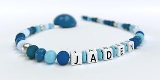Uma corrente azul da chupeta para meninos com nome Jaden Fotos de Stock
