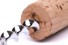 Uma cortiça e um corkscrew Imagem de Stock