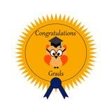 Uma coruja em um selo das concessões para a graduação ilustração royalty free