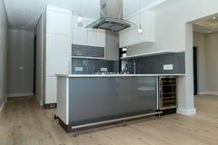 Uma cozinha pequena cinzenta fotos de stock royalty free