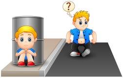 Uma criança amedrontada que esconde atrás de um tambor porque criança impertinente perturbada ilustração stock