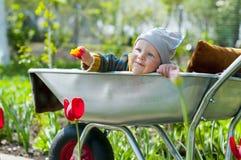 Uma criança em um carrinho de mão fotos de stock royalty free