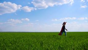 Uma criança feliz imagina um super-herói e corre-o através da grama verde, guardando um plano do brinquedo, imitando um voo vídeos de arquivo
