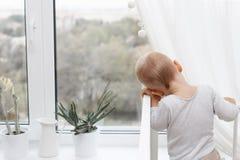 Uma criança olha para fora a janela Foto de Stock Royalty Free