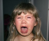 Uma criança pequena está gritando com rasgos e babar Histeria do ` s das crianças imagem de stock