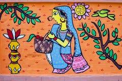 uma cubeta completamente da arte do women_Wall para as festividades de anos novos de Bangla Fotos de Stock Royalty Free