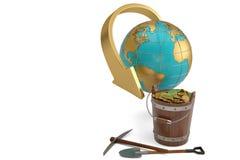 Uma cubeta de moedas de ouro e globo no fundo branco illustr 3d ilustração royalty free