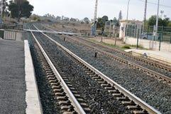 Uma curvatura nos ferrovias foto de stock