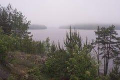 Uma das baías do Lago Ladoga, paisagem Carélia fotografia de stock