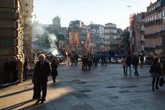 Uma das ruas no centro histórico de Porto velho do centro Fotografia de Stock Royalty Free