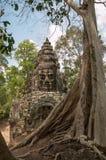 Uma de muitas caras em Bayon perto de Siem Reap, Camboja foto de stock